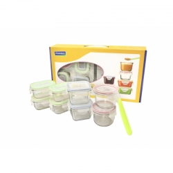 Glasslock Baby Meal groß, 8er Orange Set (4 x 150ml, 2 x 210ml, 2 x 165ml) + Silikonlöffel (GL-372)