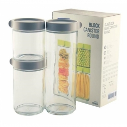 Glasslock, Block Canister Set 3-teilig grau, 400ml, 600ml, 1050ml (IG-588-Grey)