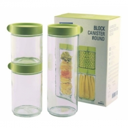 Glasslock, Block Canister Set 3-teilig grün, 400ml, 600ml, 1050ml (IG-588-Green)