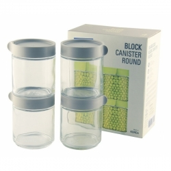 Glasslock, Block Canister Set rund/grau, 4x 400ml (IG-702-Grey)