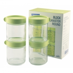 Glasslock, Block Canister Set rund/grün, 4x 400ml (IG-702-Green)