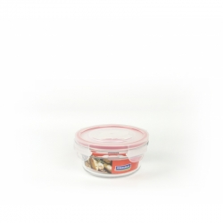 Glasslock Container, oven safe, round, red, 450 ml (OCCT-045)