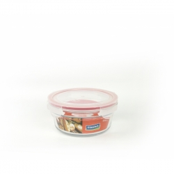 Glasslock Container, oven safe, round, red, 850 ml (OCCT-085)