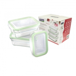 Glasslock 3 pcs Oven Set, rectangular (GL-1420)