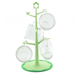 Glasslock, Mug Tree + 4 Tassen, grün (GL-741)