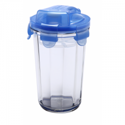 Shaker made of tempered glass, blue lid, 485ml (RC-105)
