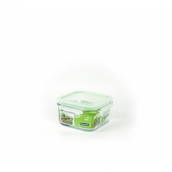 Replacement lid, square 490ml, transparent/green (MCSB-049)