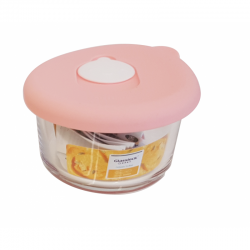 Glasslock - Glass food container round with pink silicon lid 165ml (MCCB-016S)
