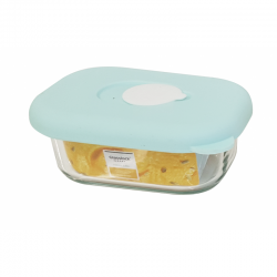 Glasslock - Glass food container rectangular with blue silicon lid, 150ml (MCRB-015S)