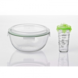Bowl and shaker with salad-dressing printings, green (GL-1418: MBCB-400 + PC-318-SD)