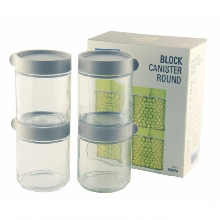 Block Canister Set round/grey, 4x 400ml (IG-702-Grey)