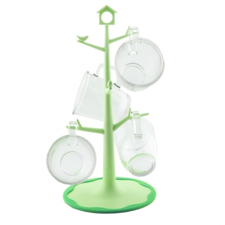 Glasslock, Mug Tree + 4 mugs, green (GL-741)
