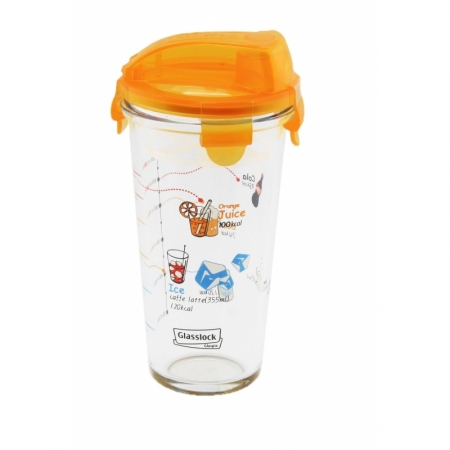 Shaker with printings on it, orange lid, 450ml (PC-318-CA)