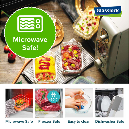 Glasslock Microwave square, 900ml (MCSB-090)
