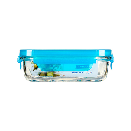 Glasslock Microwave rectangular, color line,  400ml (MCRB-040-COBL)