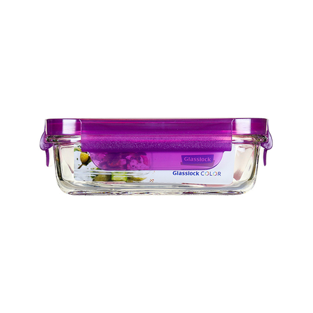 Glasslock Microwave rectangular, color line, 400ml (MCRB-040-COPU)