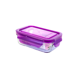 Glasslock Microwave rectangular, color line, 400ml...