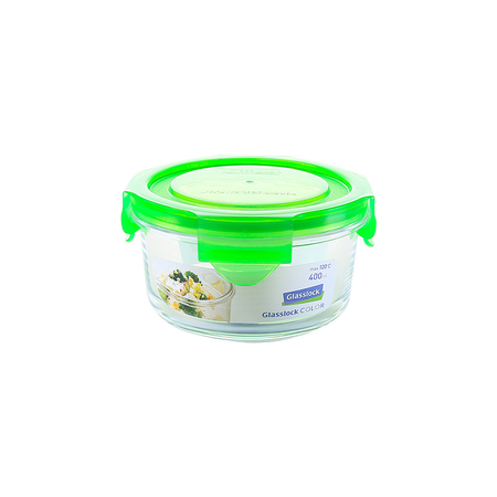 Glasslock Microwave round, color line, 380ml (MCCB-040-COGR)
