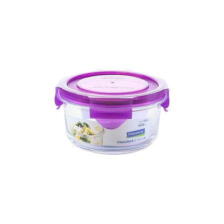 Glasslock Microwave round, color line, 380ml (MCCB-040-COPU)
