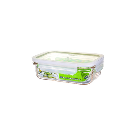 GLASSLOCK microwave safe food containers made of tempered glass with clip lid, Fancy Line, 400ml, rectangular, MCRB-040F