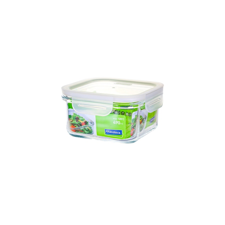 GLASSLOCK microwave safe food containers made of tempered glass with clip lid, Fancy Line, 490ml, square, MCSB-049F