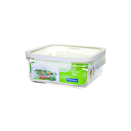 GLASSLOCK microwave safe food containers made of tempered glass with clip lid, Fancy Line, 900ml, square, MCSB-090F