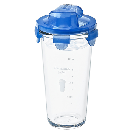 Shaker with printings on it, blue lid, 450ml (PC-318-ML)